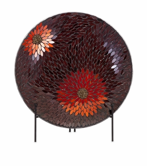 Classy Autumn Flower Mosaic Charger and Stand