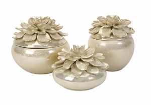 Classy Blair Hand-Sculpted Floral Boxes - Set of 3 by IMAX