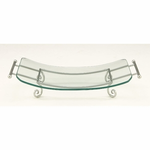 Classy Glass Plate Silver Metal Stand - 68565 by Benzara