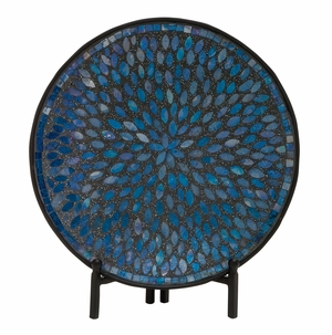 Classy Metal Mosaic Platter With Stand - 24193 by Benzara