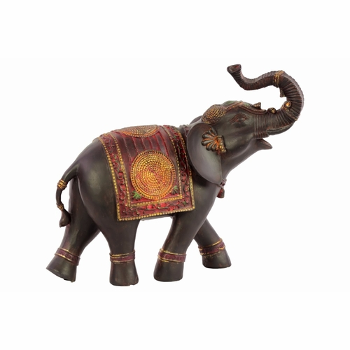 Woodland Imports Bru 845676 Classy Resin Elephant Small With Red Blanket