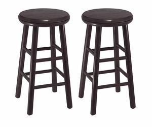 """Classy Set of 2 Assembled 24"""" Dark Espresso Finish Swivel Kitchen Stool by Winsome Woods"""