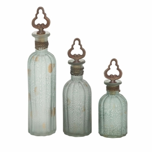 Classy Set of Three Glass Stopper Bottle - 24787 by Benzara