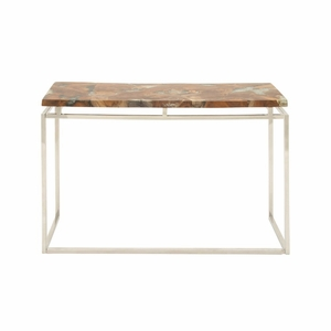 Classy Stainless Steel Teak Resin Console Table - 59225 by Benzara