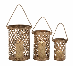 26845 Classy Styled Attractive Metal Candle Lantern - 26845 by Benzara