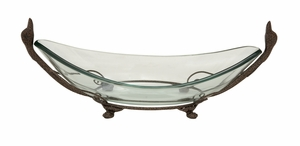 Classy Styled Glass Bowl Metal Stand - 68546 by Benzara