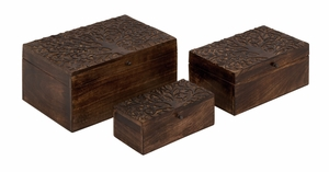 Classy Styled Unique Wood Carved Box - 14446 by Benzara