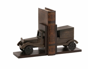 Classy Styled Wood Car Bookend Pair - 24875 by Benzara