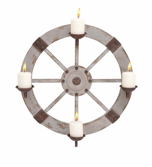 Classy Styled Wood Metal Candle Sconce By  Import - 20259 by Benzara