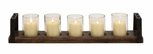 Classy Wood Metal Glass Candle Holder - 23878 by Benzara