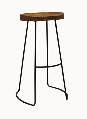 The Urban Port brand classy Wooden Barstool with Iron Legs (Long).