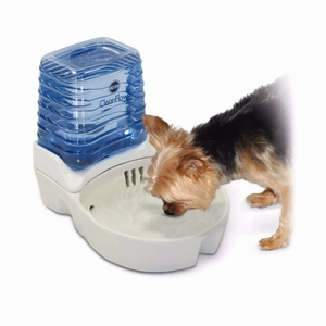 CleanFlow Dog Ceramic Fountain with Reservoir 170 oz. Small Off-White
