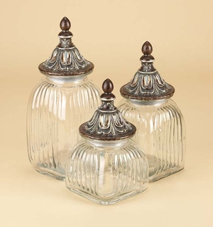 POLYSTONE GLASS CANISTER SET OF 3 FOR DANCING LIGHTS - 97587 by Benzara