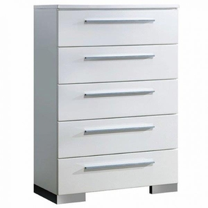 Clementine Contemporary Style Chest With Chrome Handles, White