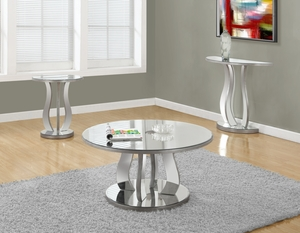 """COFFEE TABLE - 36""""DIA / BRUSHED SILVER / MIRROR"""