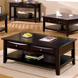 Baldwin Coffee Table Contemporary Style, Expresso Brown Finish