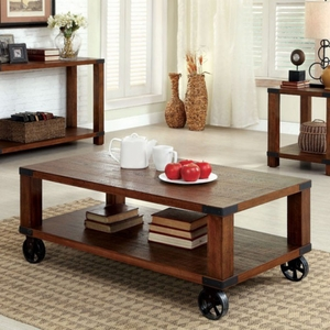 Broadus Industrial Coffee Table In Dark Oak Finish