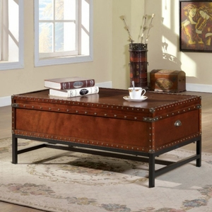 Milbank Industrial Coffee Table, Cherry Finish