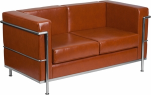 Cognac Bonded Leather loveseat