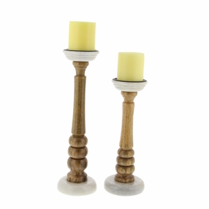Cole Wood Candle Holder With Marble Base, Set Of 2 - 94554 by Benzara