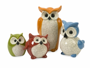 Colorful and Rare Set of 4 Enchanted Owls by IMAX