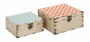 Colorful And Stylish Square Shaped Set Of Two Boxes - 34964 by Benzara