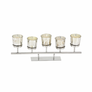 Comely Stainless Steel Glass Votive Holder - 90938 by Benzara