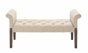 Comfortable And Captivating Wood Fabric Bench - 55764 by Benzara