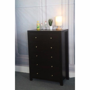 Commodious Dark Brown Finish 5 Drawer Storage Chest With Metal Glides.