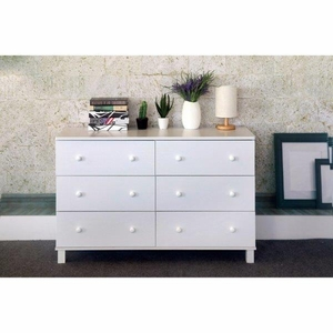Commodious Gray And White Finish Dresser With 6 Drawers.