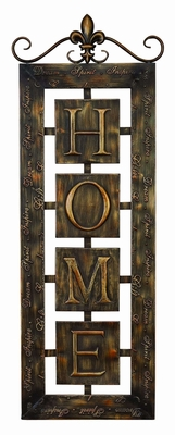 Metal Wall Plaque 'Home' An Intimate Wall Decor - 39401 by Benzara