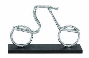 Contemporary Aluminum Cycle Sculpture With Full Gloss Appeal - 26925 by Benzara