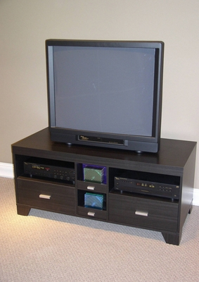 4D Concepts Black Wooden Stylish TV Stand with Trendy Drawers