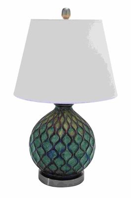Stylish Ceramic Table Top Lamp With Coral Waves - 95793 by Benzara