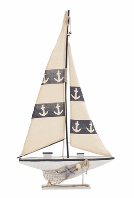 Contemporary Creative Styled Wood Sail Boat - 67273 by Benzara