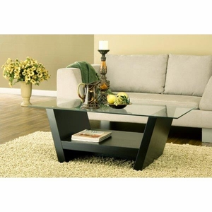 Contemporary Glass Coffee Table With One Shelf, Black