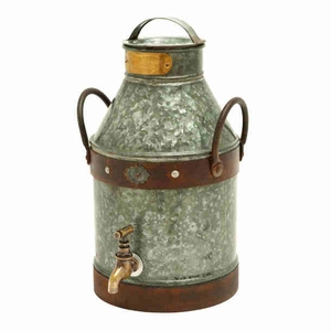 Metal Galvanized Milk Can With Rust Finished Handles - 38178 by Benzara