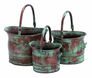 Contemporary Metal Planter With Rustic Style In Green - Set Of 3 - 26909 by Benzara