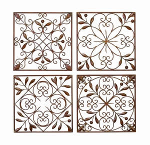 METAL WALL DECOR SET OF 4 A LOW PRICED WALL DECOR - 50035 by Benzara