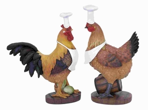 Rooster Chef With Unique Style (Set Of 2) - 20605 by Benzara