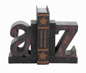 Set Of 2 Sturdy Wood Book End With Robust Design - 14413 by Benzara