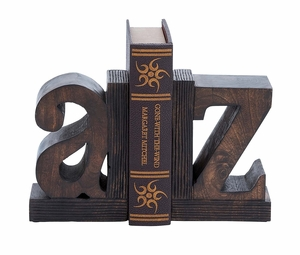 Set Of 2 Sturdy Wood Book End With Robust Design
