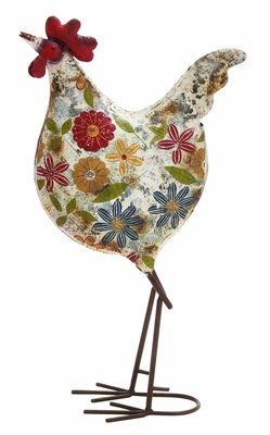 Contemporary Styled Floral Metal Rooster - 55234 by Benzara
