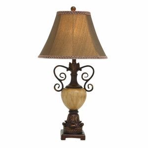 Contemporary Styled Polystone Metal Table Lamp - 59506 by Benzara