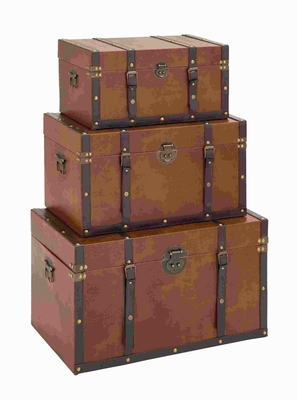 Timeless Designed Wood Leather Trunk - Set Of 3 - 35040 by Benzara