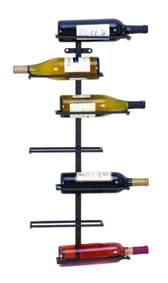 Modern Hangable Wine Rack With 7 Horizontal Slots - 66028 by Benzara