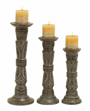 Contemporary Wooden Candle Holder Whitish Brown Finish - Set Of 3 - 51524 by Benzara