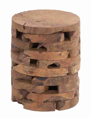 Contemporary Style Wooden Teak Stool With Ergonomic Construction - 38428 by Benzara