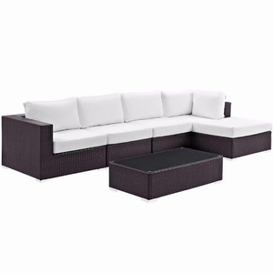 "Convene 5 Piece Outdoor Patio Sectional Set, Espresso White Size : 120""Lx53""Wx25""H"