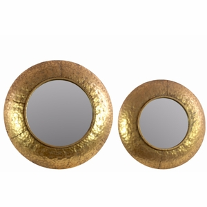 Convex Wall Mirror with Dimpled Design Frame Set of Two - Gold - Benzara